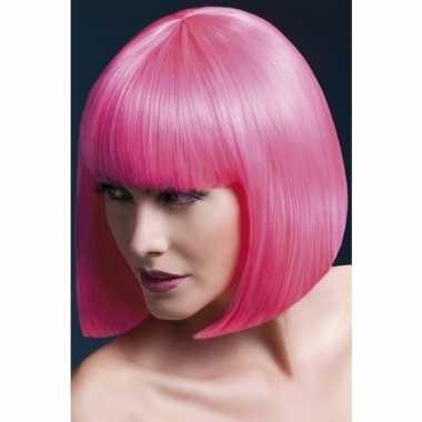 Luxe roze korte pruik elise voor dames