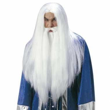 Luxe witte gandalf pruik voor volwassenen