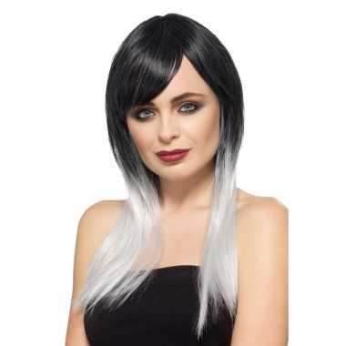 Luxe zwart/grijze steile pruik voor dames