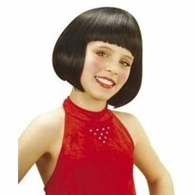 Meisjes kinderpruik met zwart kort haar