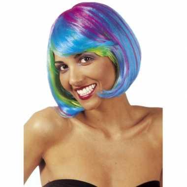 Multicolour boblijn dames pruik