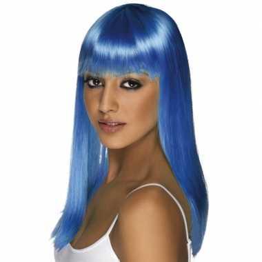 Neon blauwe pruik voor dames