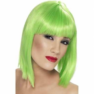 Neon groene damespruik met pony