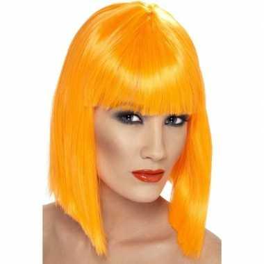 Neon oranje damespruik met pony