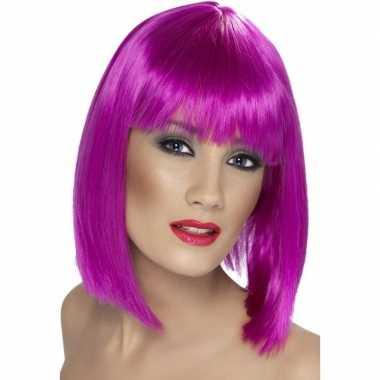 Neon paarse damespruik met pony