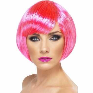 Neon roze korte dames pruik boblijn