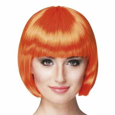 Oranje pruik boblijn danmes