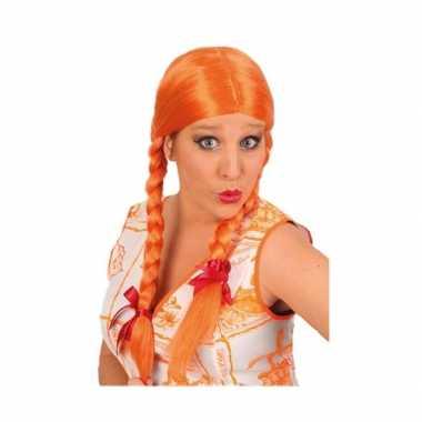 Oranje pruik met vlechten