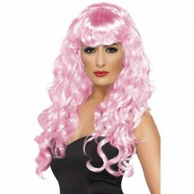 Party pruik dames in roze