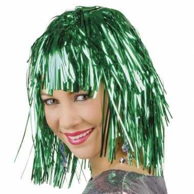 Party pruik groen lurex