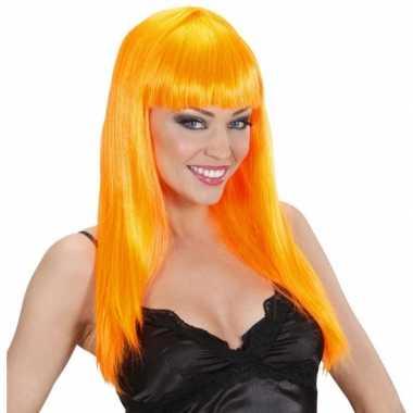 Party pruik met oranje stijl haar
