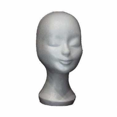 Piepschuim hoofd pruikenstandaard 30 cm
