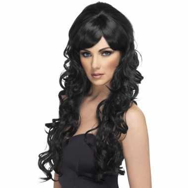 Popstar pruik met lang krullend haar