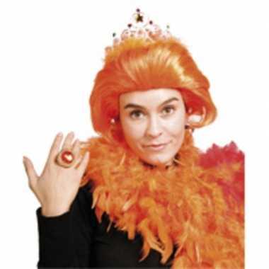 Prinses beatrix pruik oranje met kroontje