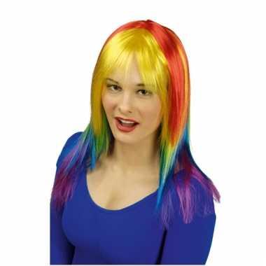 Pruik met regenboog kleuren voor dames