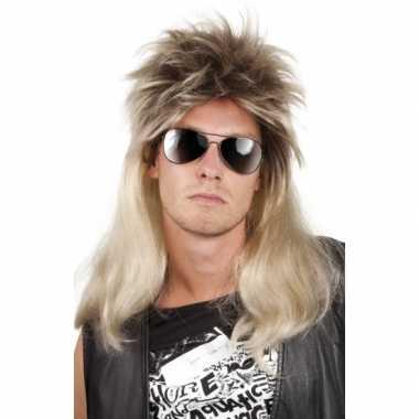 Rocker heren pruik blond haar