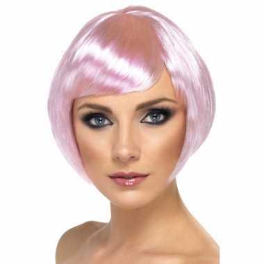 Roze damespruik kort haar