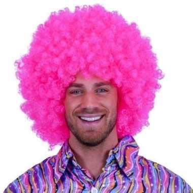 Roze krulletjes pruik neon