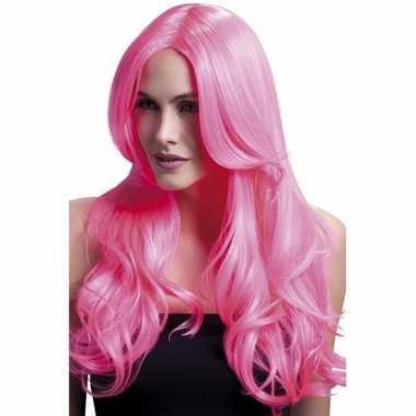 Roze pruik met krullen om zelf te stylen
