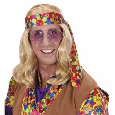 Sixties herenpruik met blond lang haar