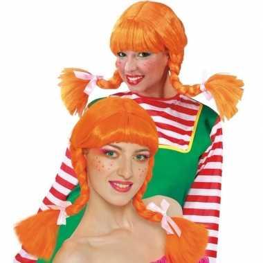 Sterk meisje pruik oranje voor dames