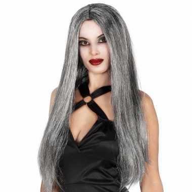 Stijle lange dames heksen pruiken grijs