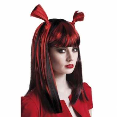 Vampier pruik rood voor dames