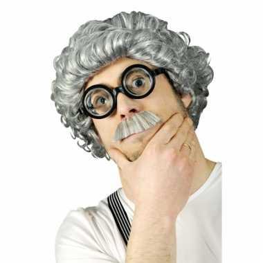 Verkleed grijze professor pruik
