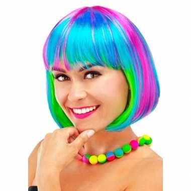 Verkleed regenboog pruik voor dames