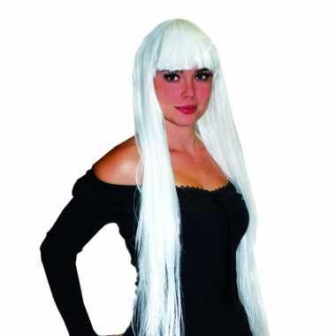 Verkleedaccessoires damespruik lang wit haar met pony