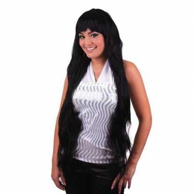 Verkleedaccessoires damespruik lang zwart steil haar met pony