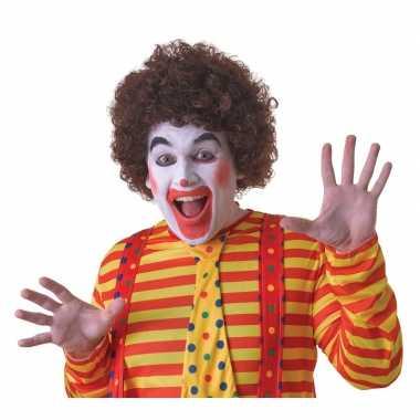 Voordelige bruine clownspruik voor volwassenen