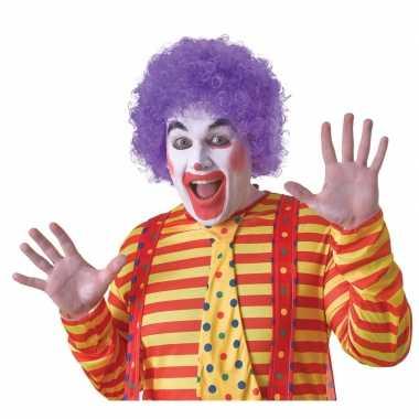Voordelige paarse clownspruik voor volwassenen