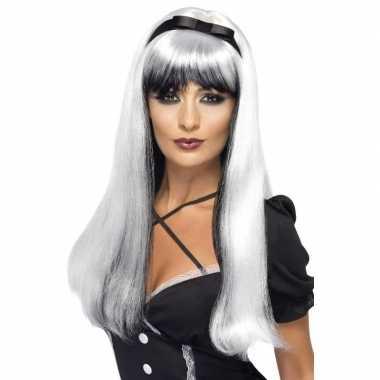 Wit/zwarte lange pruik voor dames