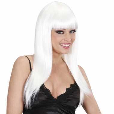 Witte glamour pruik met stijl haar