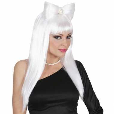 Witte lady gaga look a like pruik