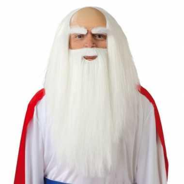 Witte pruik met lange baard voor heren