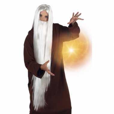 Witte tovenaar pruik met baard voor volwassenen