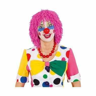 Wollen clownspruik roze
