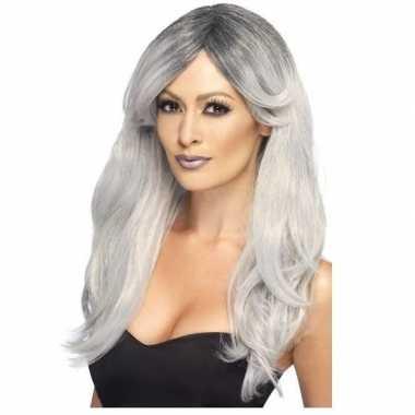 Zilver/grijze pruik voor dames