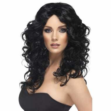Zwart krullend haar glamour pruik
