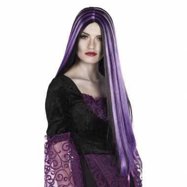 Zwart met paarse heksenpruik voor dames