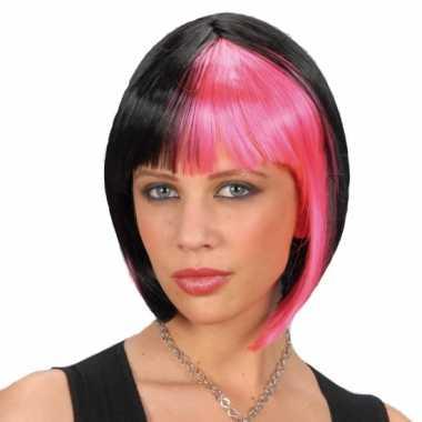 Zwart roze boblijn dames pruik