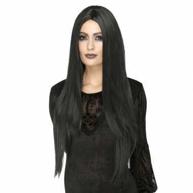 Zwarte lange luxe heksen/gothic pruik voor dames