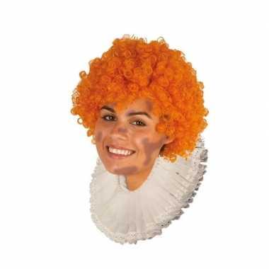 Zwarte roetveeg pieten pruik oranje