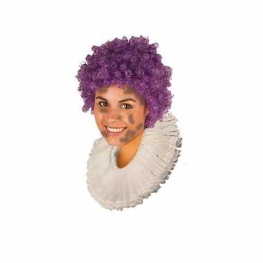 Zwarte roetveeg pieten pruik paars