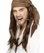 Bruine piratenpruik met bandana voor heren