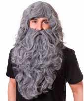 Grote grijze pruik met baard lang