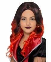 Halloween lange zwart met rode meisjespruik met krullen