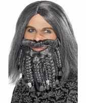 Heren piraten pruik grijs met baard